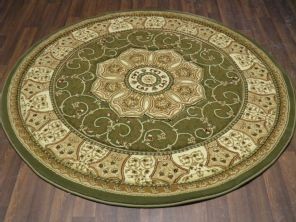 Woven Backed Circle Green Traditional Carved Rug 150cm x 150cm Circular Top Quality